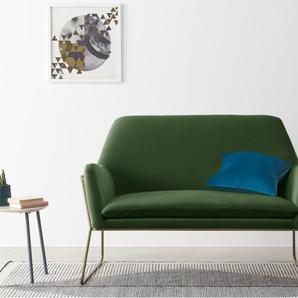 Frame, causeuse, velours vert gazon et laiton