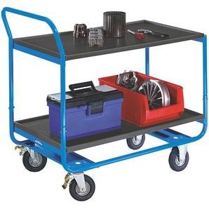 EUROKRAFT Chariot à plateaux, force 150 kg - 2 niveaux, en MDF, L x l 1000 x 570 mm - pneumatiques