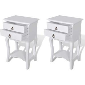 Table de nuit chevet commode armoire meuble chambre avec tiroirs 2 pcs blanc - Blanc - HELLOSHOP26