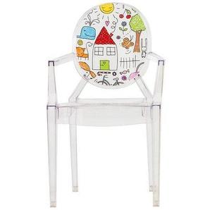 Kartell Lou Lou Ghost - Chaise d'enfant avec motif - transparent/motif sketch/LxPxH 40x37x63cm