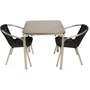 Table de jardin carrée et 2 fauteuils en aluminium Nothing Hill - Noir - OVIALA