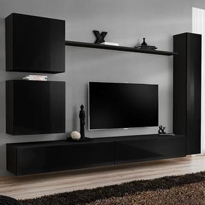 Ensemble meuble tele noir laqué design LATIANO 4