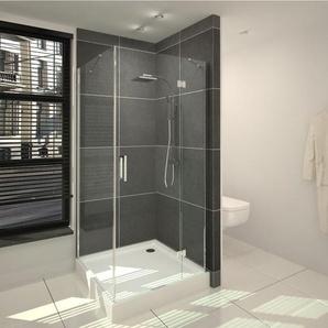 Saniclass Cansano Cabine de douche carrée avec 1 porte pivotante 80x80x208.5cm avec receveur de douche 13.5cm verre transparent SW24213