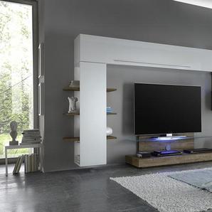 Ensemble meuble TV blanc laqué et chêne avec éclairage LED en option contemporain FELICIA
