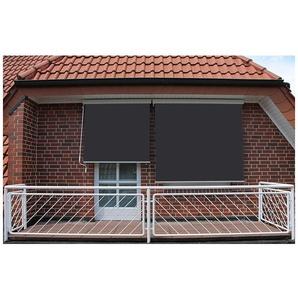Store vertical enrouleur extérieur pour terrasse ou balcon - 1,8 x 2,5 m - Blanc laqué - Gris anthracite - SUNNY INCH ®