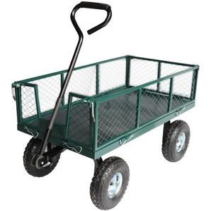 Chariot sur pneus avec ridelles grillagées amovibles 97 x 51 x 30cm - JARDIAFFAIRES