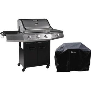 Barbecue Gaz Bingo 4 - 4 brûleurs dont 1 latéral - 14kW + Housse protection - Noir - HABITAT ET JARDIN