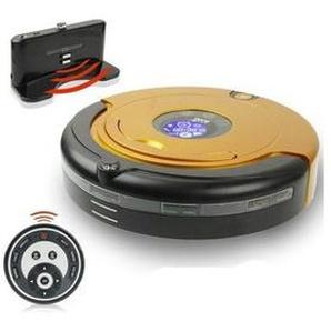 Robot Aspirateur Orange automatique robotisé multifonctionnel avec panneau daffichage à cristaux liquides et contrôleur à distance inclus station daccueil