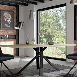 Table industrielle couleur bois et effet béton JEFFREY