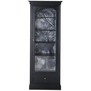 Vitrine 1 porte noire et verre trempé Cambronne