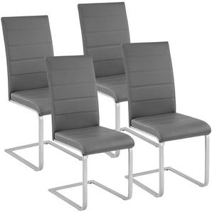 4 Chaises de Salle à Manger Rembourrées Design Moderne Pieds en métal Gris - TECTAKE