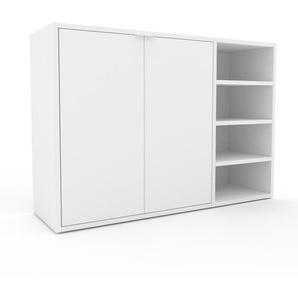 Commode - blanc, contemporaine, élégantes, avec porte blanc - 116 x 80 x 35 cm, personnalisable