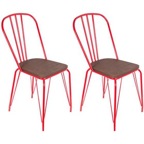 Scarlet - Lot de 2 Chaises Métalliques Rouges