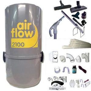 Aspirateur central AIRFLOW 2100 garantie 2 ans (jusquà 400 m²) + trousse inter 9 ML + 8 accessoires + kit 4 prises + kit prise balai + kit prise garage