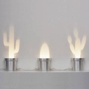 ALUMINIUM CACTUS-Lampe à poser LED Cactus H9,5cm argent Popup Lighting - designé par Chen Bikovski