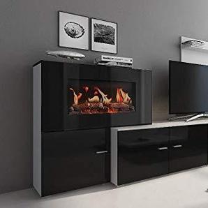Comfort Home Innovation- Meuble de Salon avec cheminée électrique à 5 Niveaux de Flamme, Finition Blanc Mate et Noir laqué, mesures : 290 x 170 x 45 cm de Profondeur.