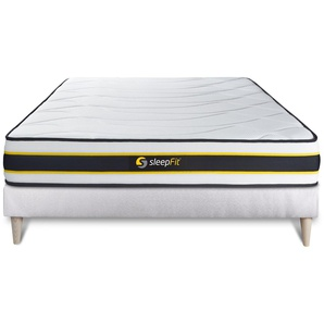 Ensemble 140x200 matelas FLEXY + sommier kit blanc - SLEEPFIT