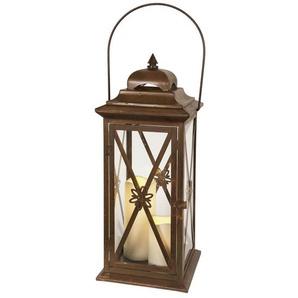 TWIN-Lanterne LED Métal et Verre à piles H50cm rouille Best Season