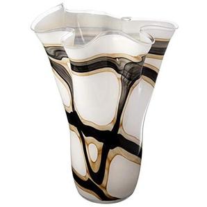 Exclusive de Anna Décor Grande Faite à la Main Mouchoir Vase en Verre-Blanc, Noir et Marron-34cm