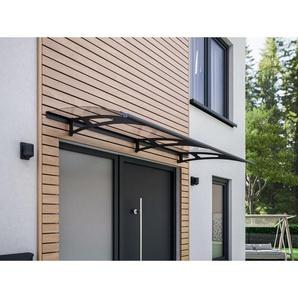 Auvent marquise de porte, 200 x 90 cm, Style Plus, polycarbonate transparent, fixation anthracite, Classic - SCHULTE