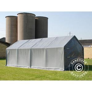 Tente de Stockage Tente Abri PRO 4x8x2x3,1m, PVC, Gris - DANCOVER