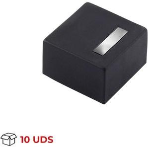 Boîte avec 10 Butée de porte en adhésif et vissée de la marque REI, en aluminium, finition chromée brillant et forme carrée au design élégant