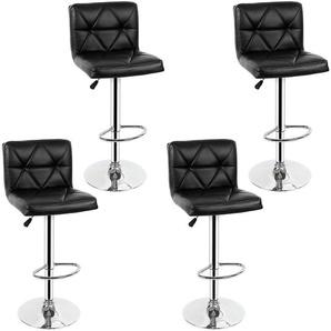 LOT DE 4 NOIR Chaises de Bar Chaises en Similicuir Réglable et Adjustable pour Bar - OOBEST