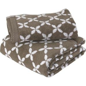 Parure de bain 2 pièces SHIBORI floral Beige 100% coton 500 g/m2