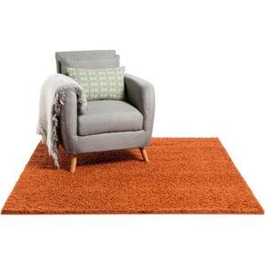 Tapis shaggy à poils longs Swirls Rouge/Orange 60x60 cm - Tapis descente de lit
