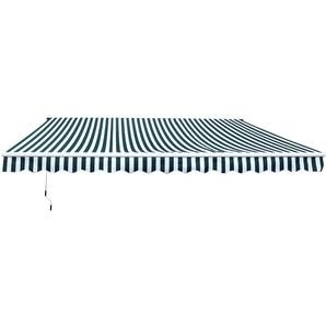 Store banne électrique et manuel rétractable dim. 3,95L x 3l (avancée) m télécommande fournie alu. polyester haute densité imperméabilisé anti-UV vert blanc rayé - Outsunny