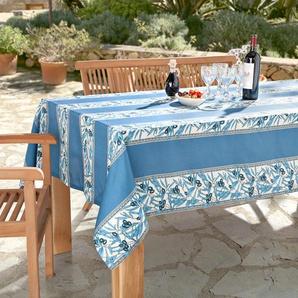 Vent du Sud Nappe au motif olives lavable, 160 x 160 cm - Bleu/Blanc