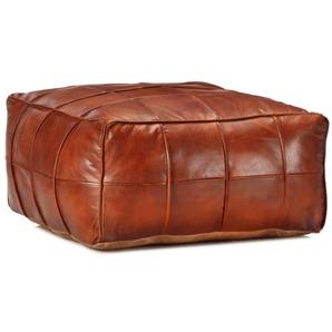 Pouf 60 x 60 x 30 cm Brun roux Cuir véritable de chèvre - VIDAXL