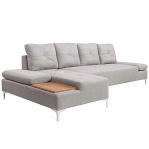 Canapé en L avec plateau en bois Tissu Gris crème XXL 300 cm