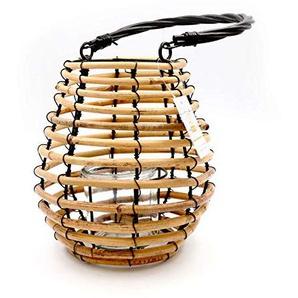 Lanterne en bambou et verre pour décoration de table CM.14X20h