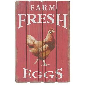 C&E Plaque en Bois géante Style Vintage avec Inscriptions Farm Fresh Eggs Rouge 60 x 40 cm