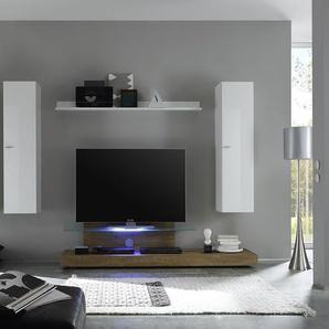 Ensemble meuble TV blanc laqué et chêne avec éclairage LED en option contemporain ANITA avec éclairage