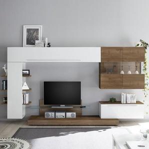 Meuble TV mural blanc et couleur bois foncé TARENTA