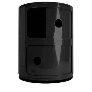 Kartell Componibili 2 - Conteneur - noir/brillant/H 40cm/ Ø 32cm