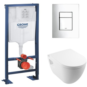 Grohe Rapid SL + Cuvette rimless SM26/abattant frein de chute + Plaque de commande + Set disolation phonique (AutoportantSM26)