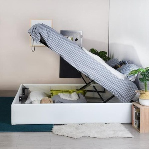 MAJESTY Lit coffre adulte - Contemporain - Simili blanc - l 180 x L 200 cm