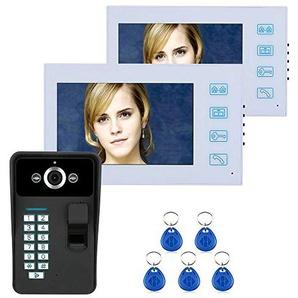 YUEC Sonnette vidéo, écran 7 Pouces 2 RFID Mot de Passe vidéo Sonnette Talkie-walkie avec caméra Infrarouge Système de contrôle daccès de Ligne 1000 TV, Pluie HD