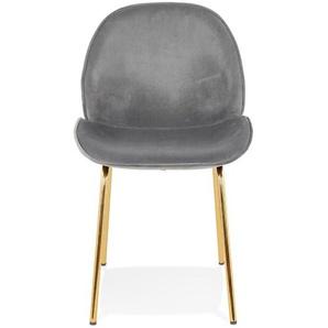 Chaise vintage MAGALY en velours gris foncé et pieds en métal doré