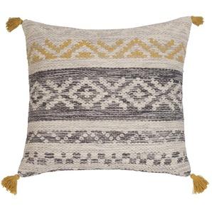 Coussin ethnique en coton gris et jaune 60x60
