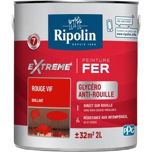 Peinture pour Fer Extérieur, Brillant, Rouge Vif 2L Ripolin