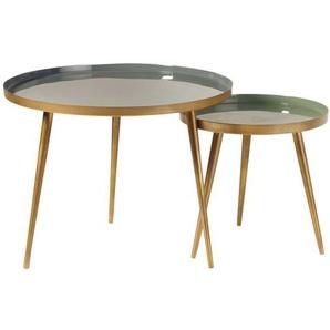 Tables gigognes en métal vert et doré Avril