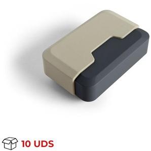 Boîte avec 10 Butoir de porte adhésif modèle TECHNO, en plastique, fini crème et dessin rectangulaire - REI
