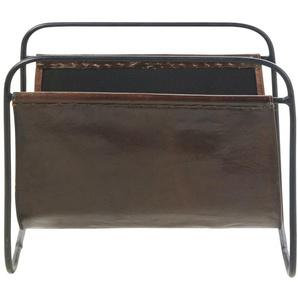 Porte-revues en cuir de chèvre marron et métal noir