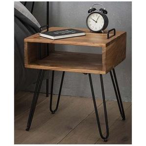 Table de chevet industrielle en bois massif Ziva - Chêne - VIVABITA