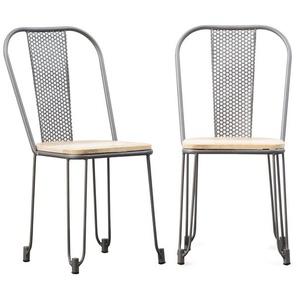 Lot de 2 chaises écolier métal gris clair troué assise en bois - MADE IN MEUBLES
