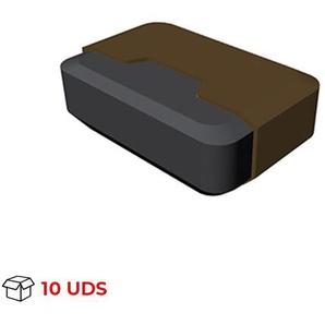 Boîte avec 10 Butée de porte adhésive modèle TECHNO, en plastique, finition marron et motif rectangulaire - REI